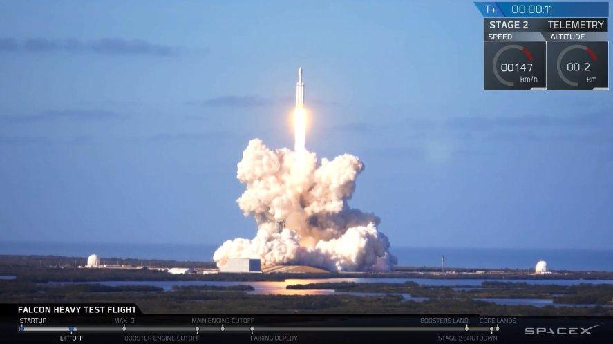 Илон Маск Falcon Heavy ауыр зымыран тасығышын ғарышқа ұшырды