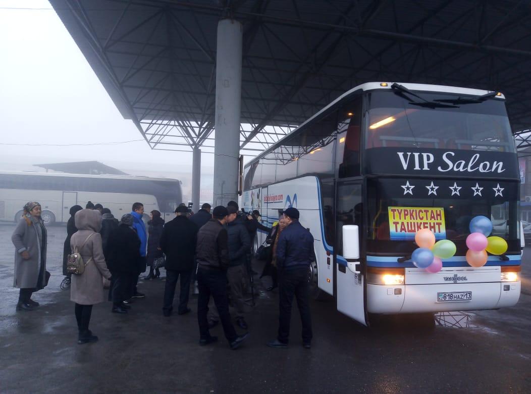 «Түркістан-Ташкент» бағытында Халықаралық автобус жолға шықты
