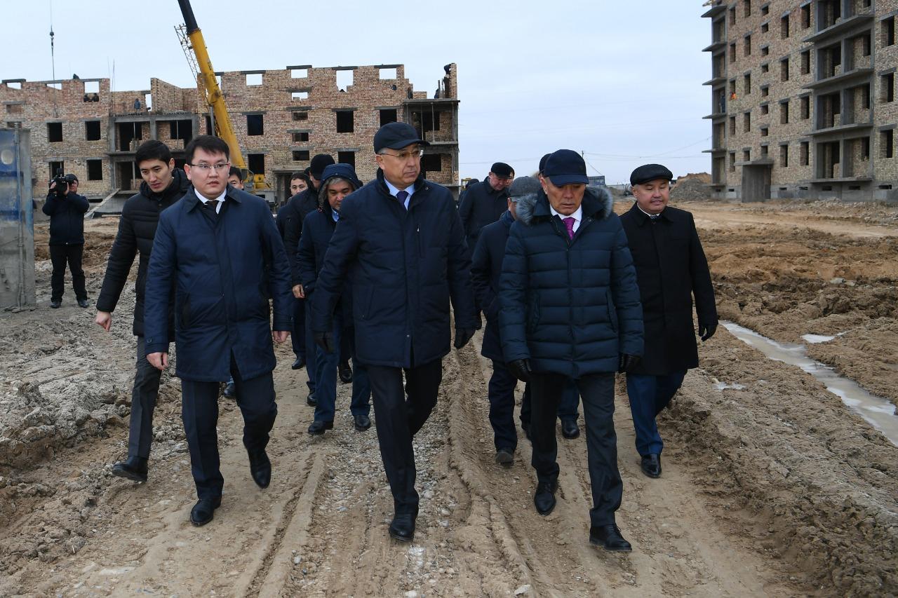 Түркістанда жаңа әкімшілік іскерлік орталықтағы құрылыс жұмыстары қарқынды жүруде