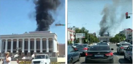Атырауда драма театрынан алапат өрт шықты (видео)
