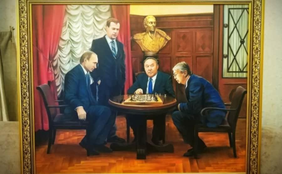 Назарбаев, Тоқаев, Путин және Медведев бейнеленген картина сатылымға шықты